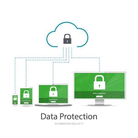 Cloud network data protection for your devices: mobile, tablet, laptop, pc. Vector illustration on white background. 向量圖像