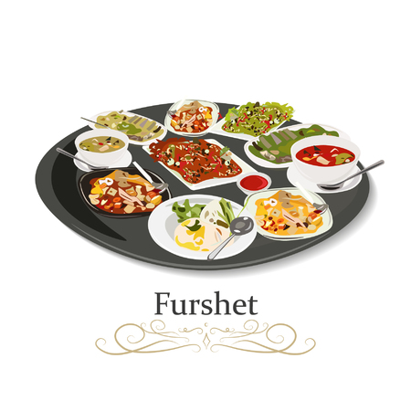 Furshet. Buffet table with many food drinks. Vector illustration icon.