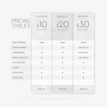 Table chart comparison template for commercial business web services and applications. Pricing plan template interface for website, banners, hosting, ui, ux, mobile app. Vector illustration.