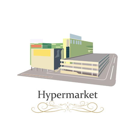 Hypermarket or Mall or supermarket building in the city with advertising pillar. Vector illustration.
