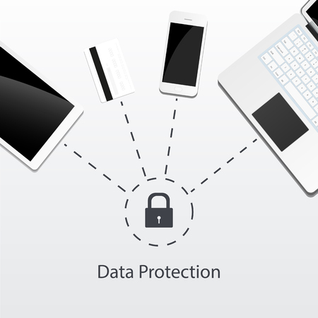 Data protected for all devices - tablet, credit card, mobile phone, laptop. Vector illustration consept isolated on white background. Image for security business information.