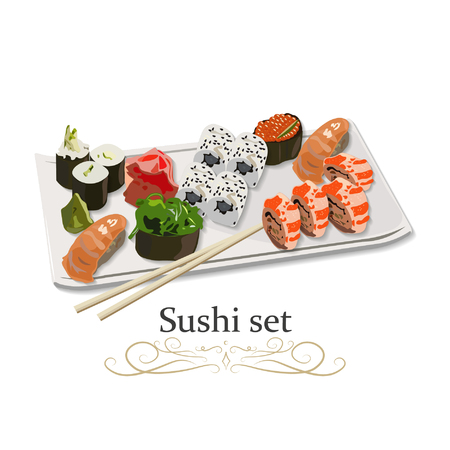Set of Sushi of various pieces of Sushi with chopsticks. Japanese seafood on table. Vector illustration icon. Illusztráció