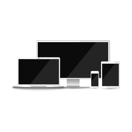 Mock-up Realistic devices: mobile, tablet, laptop, pc monitor isolated on a white background. Vector illustration.