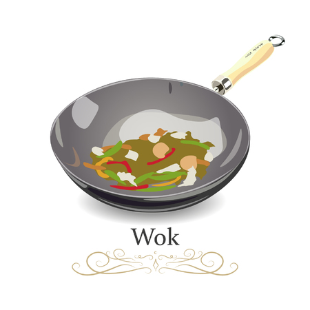 Wok frying pan sign icon of traditional bowl laying for top side view. Vector illustration.