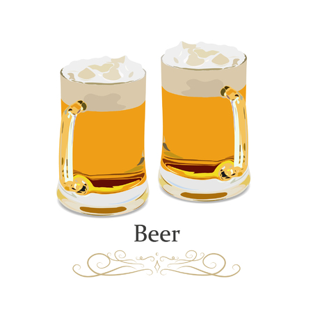 Two mug of beer in glass with blond beer with foam. Transparent realistic elements. Vector illustration. 向量圖像