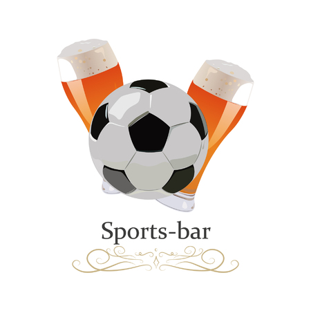 Soccer ball with two mugs of beer. Sports bar. Vector illustration. 向量圖像