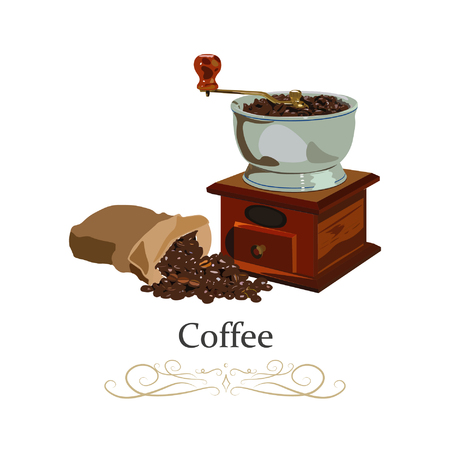 Coffee mill and the scattered bag with coffee .. Hand drawn coffee collection. Vector illustration.