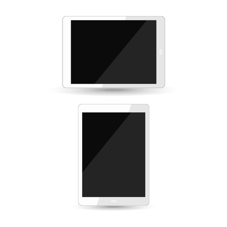 Realistic tablet pc with blank black screen isolated on white background, top view. Vector illustration. 向量圖像