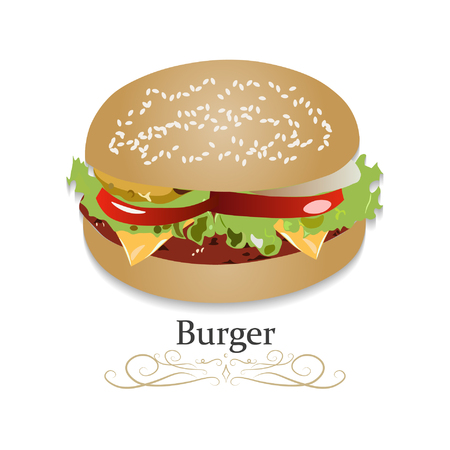 Burger Cheeseburger with Lettuce Tomato Onion Cheese Beef and Sauce Close up isolated on dark background. Fast Food Realistic vector illustration icon. 向量圖像