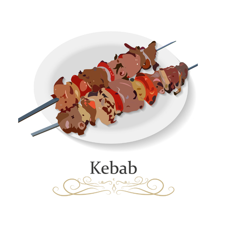 Shish kebab, meat and vegetables kebab grilled, mutton, veal, steaks on skewers, picnic with grilled meal vector illustration icon Illustration