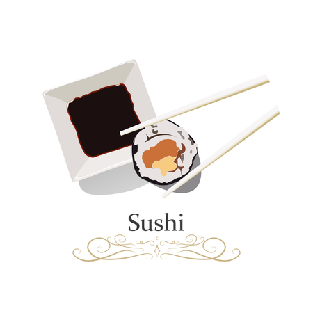 Sushi, chopsticks and soy sauce isolated on dark background. Vector illustration icon.