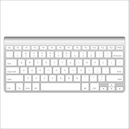 현실적인 알루미늄 컴퓨터 키보드 흰색 배경에 고립입니다. 벡터 일러스트 레이 션.