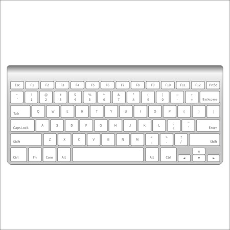 Realistic aluminum computer keyboard isolated on white background. Vector illustration.