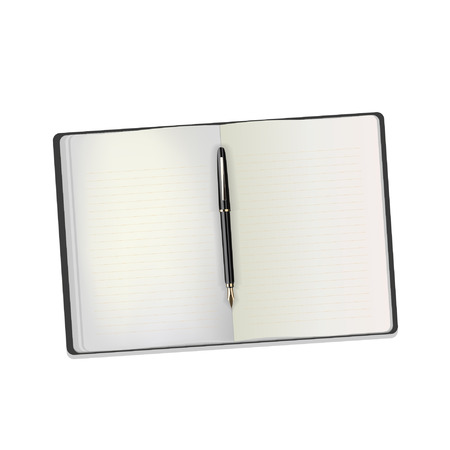 Open notebook with white page and black pen on a white background. Vector illustration.