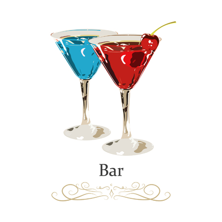 Blue cocktail martini in cocktail glass isolated on white background. Decorated with lime garnish. Vector illustration. 向量圖像