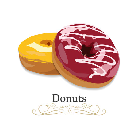Donuts with glaze and sprinkles isolated on a dark background. Vector illustration.