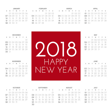 2018 square calendar with 12 months on the contour on a white background. In the center an inscription in a red square: happy new year. Vector illustration. 向量圖像