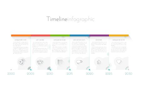 현대 타임 라인 infographics 디자인, 워크 플로 또는 프로세스 다이어그램, 순서도, 벡터 그림 템플릿.