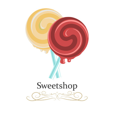Lollipop spiral candy. Realistic colorful vector illustration.