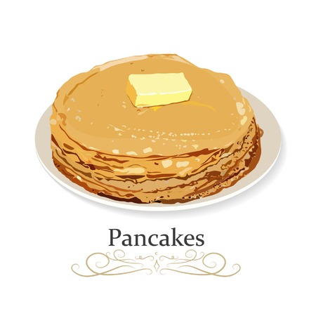 Pancakes on plate with butter, breakfast food menu item tasty homestyle realistic top side view image vector illustration.