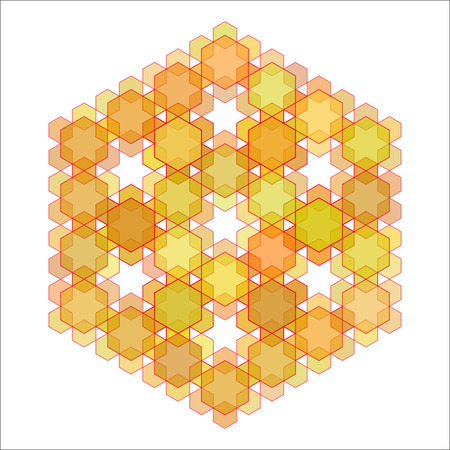 Gold hexagon abstract pattern on white background. Vector illustration.
