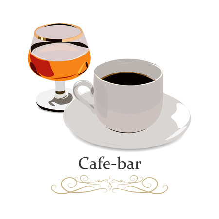Cup of black tea and a glass of rum. Realistic vector illustration. 向量圖像