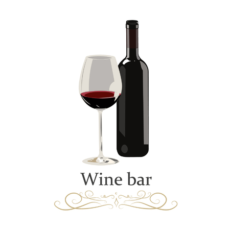 Red wine bottle with glass on white background. Realistic vector illustration. 向量圖像