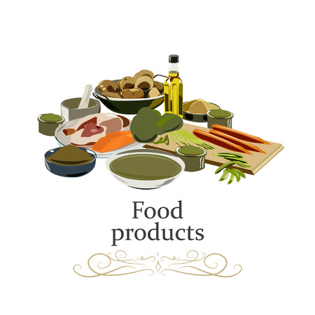 Set of common goods and everyday products from shopping in a supermarket. Vector illustration.