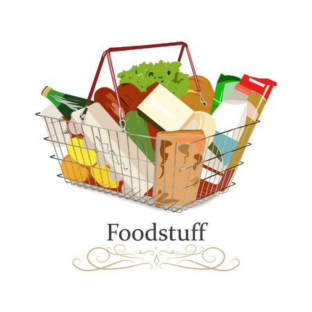 Full Supermarket shopping basket with different goods and foods. Vector illustration.