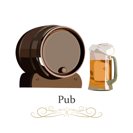 Old-style Wooden barrels with alcohol drinks emblems. Realistic vector illustration.