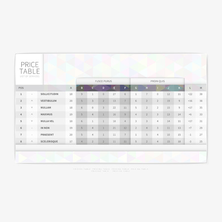 Table chart comparison template for commercial business web services and applications .. Vector illustration.