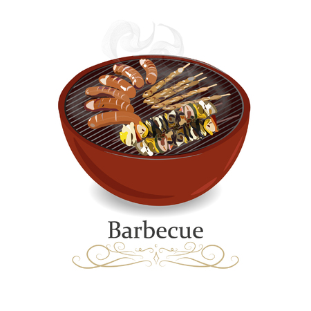 Grill barbecue. BBQ cooking device. Vector illustration icon.