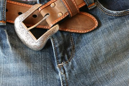 jeans with a belt photo