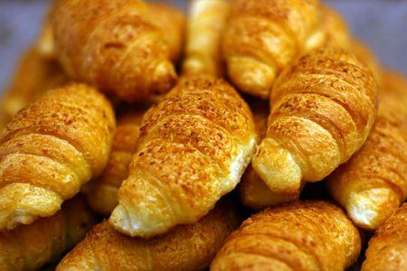 the fresh batch, croissants lay in a plenty