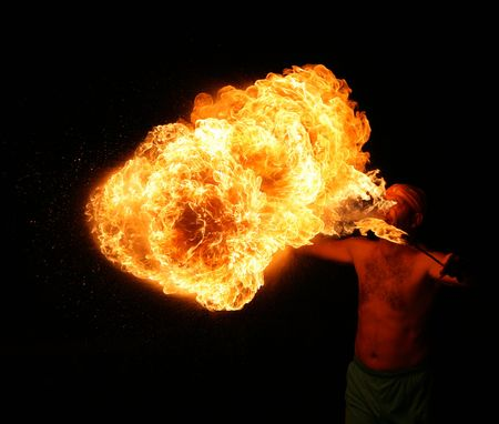 Fiery show. The fakir with fire