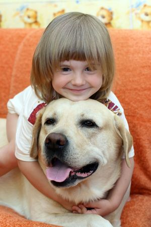 The little girl with a dog Stock Photo - 1796366
