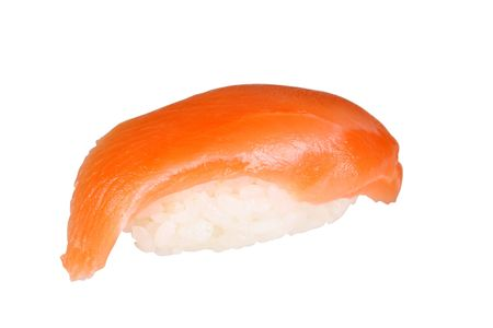 tekka:  Salmon sushi isolated on the white background Stock Photo