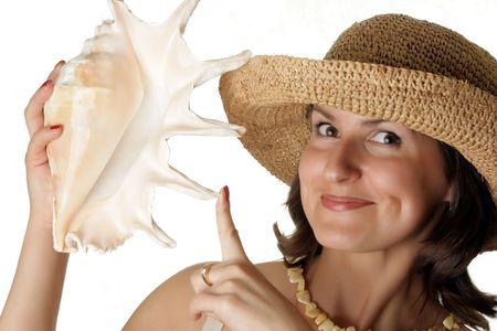 Retrato de una mujer hermosa con concha Foto de archivo - 3356594