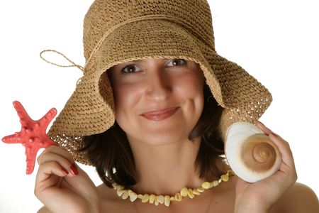 Portrait of a beautiful woman with seashell photo