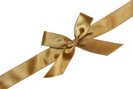 Gift golden ribbon and bow isolated on white.