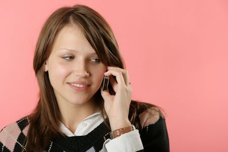 speaks: The beautiful young girl speaks by phone