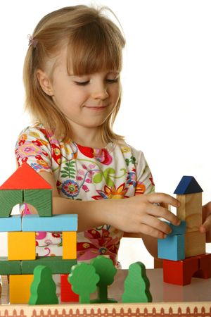 little girl playing with cubes Stock Photo - 4279001