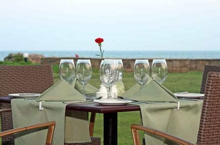 The submitted table at restaurant at the sea photo