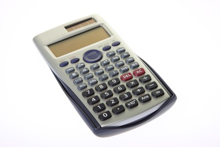 scrutiny: scientific calculator isolated on a white background Stock Photo