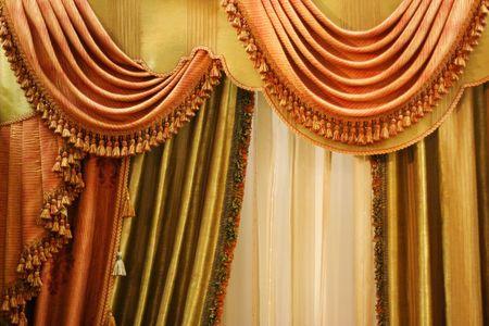 beautiful curtain on  window Stock Photo