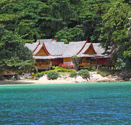 Bungalows at a tropical island. Thailand photo