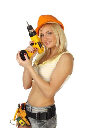 woman hard working: Sexy blonde female construction worker