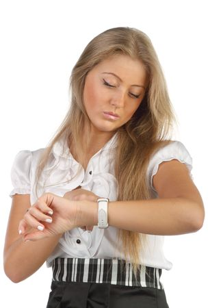 young businesswoman looks at the watch photo