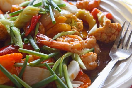 Plate of salad with shrimp Stock Photo - 6443462