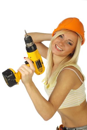 working belt:  Sexy blonde female construction worker